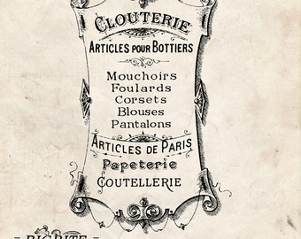 Water Slide Decal Print transfer to furniture, wood, paper; Articles de Paris Vintage French Advert #022