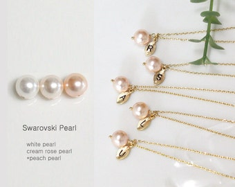 peach pearl necklace, Set of 7,8,9,10 Bridesmaid gift, Bridesmaid Jewelry, Initial Necklace, Swarovski Pearl Charm, Bridesmaid necklace