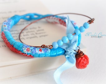 Turquoise Rope Bracelet - Wrap Bracelet - Beaded Bangle - Red Flower Garden Bangle - Mixed Media Bangle - Autumn Jewelry - Set Of Two