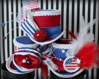 4th of July Hat SET of 3, Red White and Blue Headband, 4th of July Hair Accessories, Red White and Blue Hat, Patriotic Hat, Women Fascinator