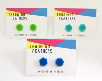 Small Queenie studs acrylic earrings - choose your colour
