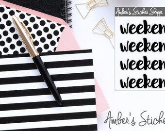 Cursive Lettering Weekend Banner Headers Labels Planner Stickers