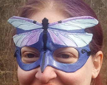 Dragonfly Mask - Purple and Blue Pastel Hand Tooled and Hand Painted Leather Mask - Art Nouveau Inspired Art Mask