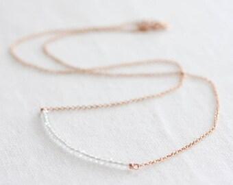 Aquamarine bar necklace - March birthstone necklace, tiny aquamarine gemstones, rose gold or silver chain, dainty gemstone bar necklace