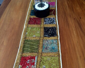 Table Runner Up-cycled Indian Embroidery