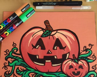 """Jack-O-Lantern 8x10"""" Painting"""