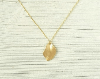 Leaf Necklace gold, leaf pendant necklace, filigree necklace for layering, 16K gilded necklace, petite minimalist necklace