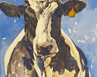 Orange Tag Holstein Print 8.5 x 11 paper size Pen and ink drawing Cow watercolor print Holstein Cow painting Cow drawing Cow picture