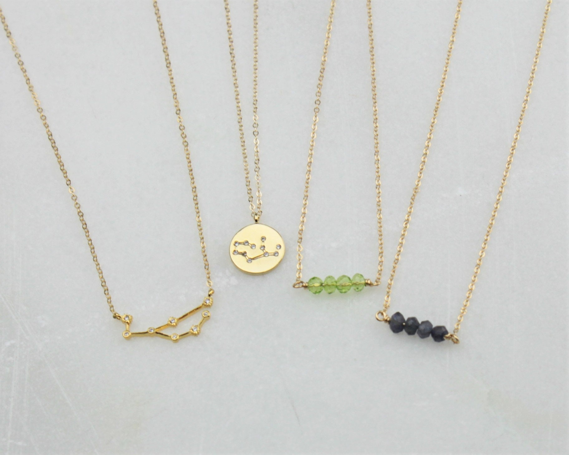 constellation gold necklace birthstone virgo