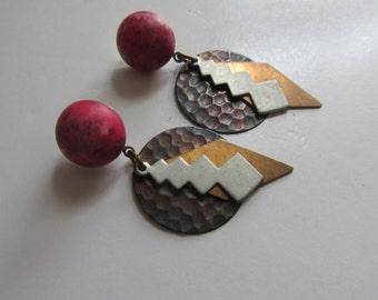 Rustic Metal Earrings Silver Brass Copper Earrings Hand Hammered Metal Earrings 90s Earrings Rustic Jewelry Bohemian Earrings
