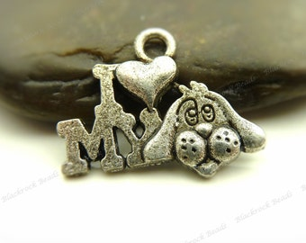 10 I Love My Dog Charms Antique Silver Tone Metal - 13x18mm - Dog Pendants, Jewelry Supplies - BF13