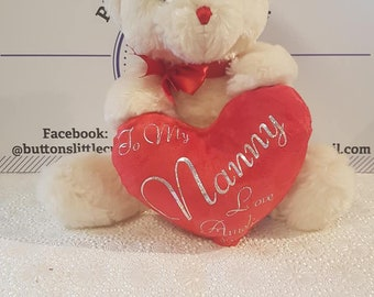 Personalised soft heart teddy bear