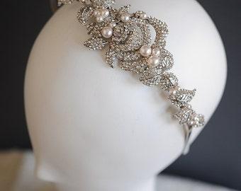 Bridal Wedding Headband, Vintage Style Crystal Rose Flower Leaf Headband, Wedding Leaf Vine Headband, Swarovski Pearl Hairpiece, ALCIRA