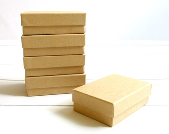 10 - 3 1/8 x 2 1/8 x 1 inch Brown Kraft Cotton Filled Jewelry Boxes-jewelry packaging,kraft jewelry boxes,brown kraft boxes, wedding favors