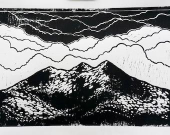 Three Hills Linocut Print