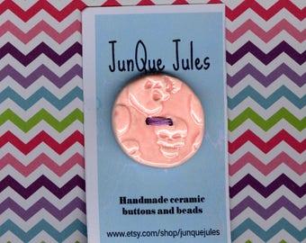 pink Sugar skull button Handmade ceramic skull button Halloween buttons ceramic button el dia de los muertos scrapbook embellishment