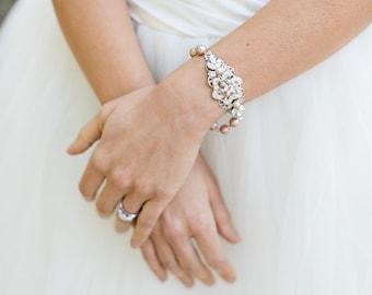 champagne swarovski pearl and crystal Bracelet Statement Bridal Bracelet Bridal Cuff Wedding Rhinestone Bracelet swarovski crystal AMELIA