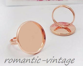 20mm: 2 rings rose gold colored adjustable brass ring 20mm