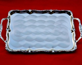 New Old Stock 80's Tray - Nickel Plated Steel Serving Tray with pearlized finish, TWIN BIRD Japan  TR31