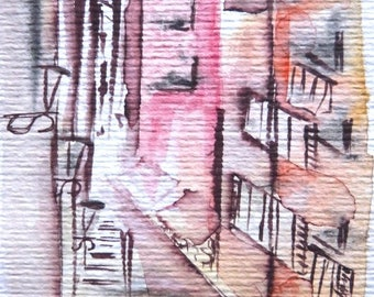 A Nice Street - watercolor original and unique, urban view Street, greeting card