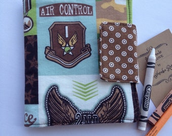 Mini crayon art folio, art folder, crayon case crayon holder kids artist gift travel art kit colouring book case crayon wrap air force plane