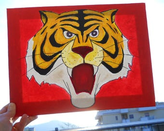 Tiger MASK the Tiger Man oil on canvas 30x40