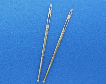 Antique Brass Sewing Bodkins or Ribbon Threaders (2)