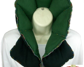 Hot Pack, Hot Pad, Microwave Neck Wrap Shoulder Wrap, Heating Pad, Organic Flax Rice Bag, Green