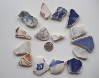 Sea pottery for crafts, Scottish beach pottery, sea china, beach china, worldwide shipping, craft pottery, beach combing gift - LOT 3