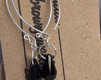 Black Swarovski Teardrop Earrings, Sterling Silver Wishbone Earrings, Handmade Swarovski Earrings, Contemporary Wishbone Bead Earrings