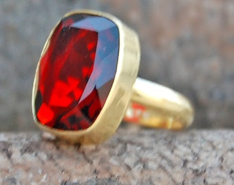 Garnet Ring, Cushion Faceted Red Garnet sterling silver ring, Garnet Quartz 14K Yellow Gold Plated Ring Jewelry