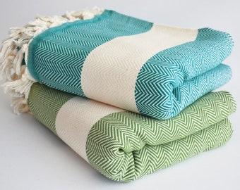 SALE 30 OFF/ Herringbone Blanket / Teal Green - Green / Twin XL / Bedcover, Beach blanket, Sofa throw, Traditional, Tablecloth