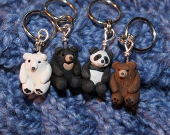 Polymer Clay Bear Stitch Markers (sleuth of 4 Miniature Sculpted Animal Knit, Crochet Accessories)