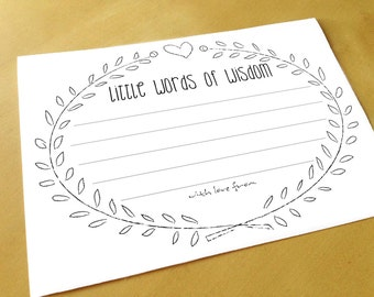 Advice Cards - Little Words of Wisdom - Wedding Advice Cards - Printable - Instant Download