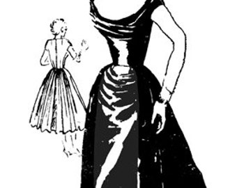 Vintage 50s CEIL CHAPMAN Repro Draped Bodice Overskirt Cocktail Dress Sewing Pattern 130 B34