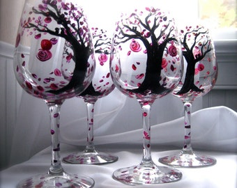Autumn Leaves Wine Glasses hand painted set of 4