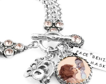 "Mask Charm Bracelet, Stainless Steel Charm Bracelet, Mardi Gras Mask Jewelry, Venetian Mask Bracelet, ""The Face Behind the Mask"""