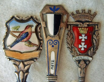 Silver Spoon Collection Hand Painted Enamel Vintage Souvenir Spoons Czechoslovakia France Poland Pre 1945 Collectible