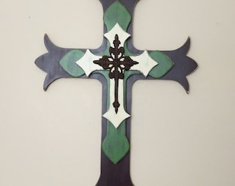 Layered Wooden Wall Cross | Wooden Cross | Decorative Cross | Religious Decor | Green and Brown Decor