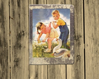 """Boy's Room Art, Girl's Room Art, Farm Theme Art Print,  Home Decor,  Family Room Art """"Goose Attack""""   #306"""
