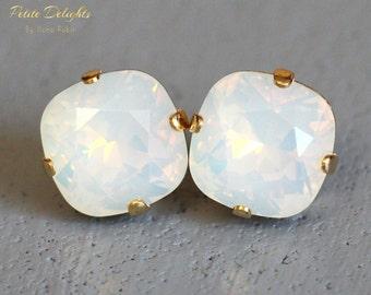 Opal Stud Earrings White Opal Swarovski Stud Earrings Rounded Square Crystal Earrings White Opal Bridal Earrings, Opal Jewelry Gift For Her