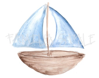 Watercolor Sailboat Clipart