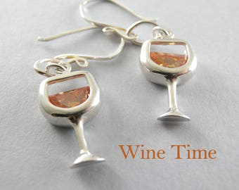 Holiday Wine Time Chardonnay Wineglass Sterling Silver and Cubic Zirconia Glass of White Wine Earrings