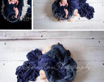 Digital Backdrop Newborn Photography Prop (Blue Wood)
