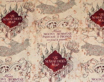 HARRY POTTER FABRIC / By The Half Yard / Maruder's Map! Mooney - Wormtail - Padfoot - Prongs