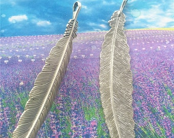 4pcs 110x25mm antiqued silver Large Feather charms findings pendants