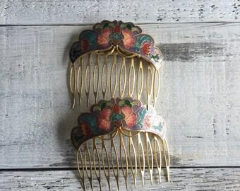 Vintage Cloisonné Hair Combs