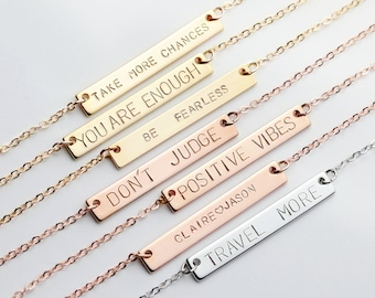 Personalized Bar Necklace Custom Name Latitude Longitude Necklace - Custom Coordinates Necklace Name Necklace Coordinates Jewelry - 9N
