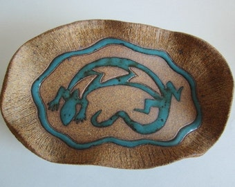 Lizard jewelry dish, ring holder in turquoise and rusty brown, ceramic art