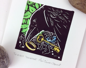 Collector-Crow collecting trinkets-Raven-Blackbird-Ring-Key-Button-Linoleum print-Linocut-Blockprint-Woodblock